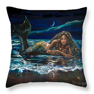 Under A Crescent Moon Mermaid Pillow Throw Pillow by Linda Olsen