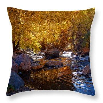 Under A Gold Canopy Throw Pillow by Jim Garrison