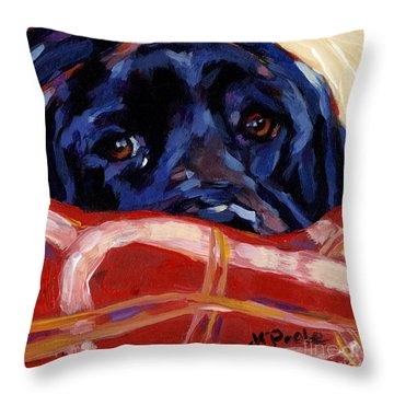 Under Cover Throw Pillow by Molly Poole