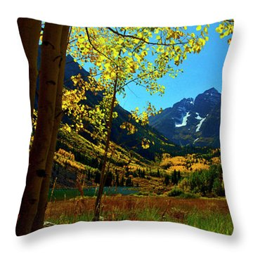 Under Golden Trees Throw Pillow