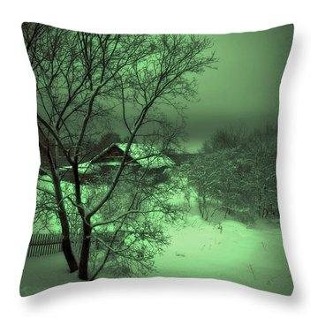 Under Green Moon Throw Pillow by Jenny Rainbow