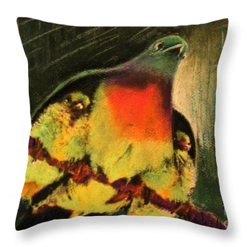 Throw Pillow featuring the painting Under His Wings by Hazel Holland