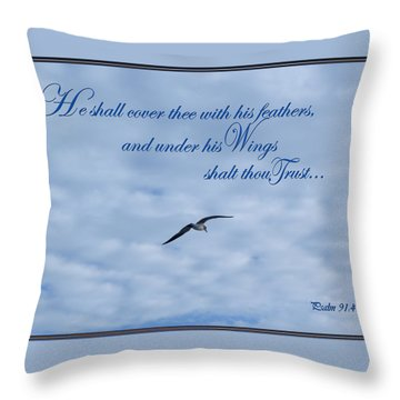 Under His Wings Throw Pillow by Larry Bishop