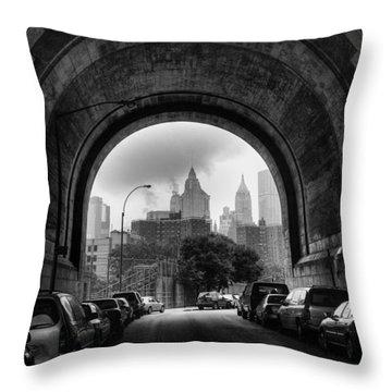New York City - Manhattan Bridge - Under Throw Pillow