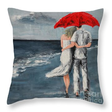 Under Our Umbrella - Modern Impressionistic Art - Romantic Scene Throw Pillow
