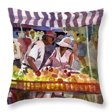 Under The Awning Throw Pillow by Kris Parins
