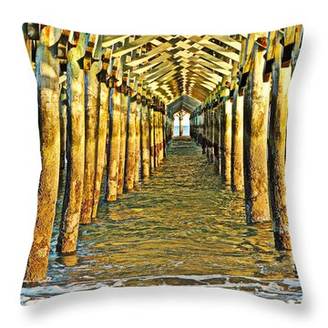 Under The Boardwalk - Hdr Throw Pillow by Eve Spring