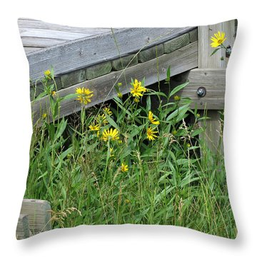 Throw Pillow featuring the photograph Under The Boardwalk by Laurel Powell