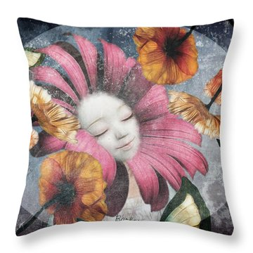 Throw Pillow featuring the digital art Under The Bubblemoon by Barbara Orenya