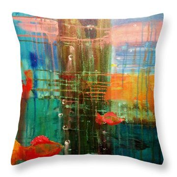 Under The Dock Throw Pillow by Renate Nadi Wesley