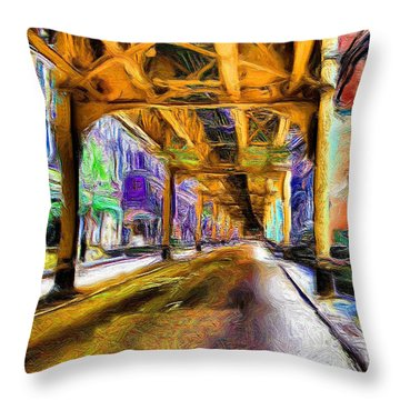 Under The El - 20 Throw Pillow by Ely Arsha