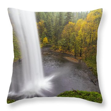 Under The Falls With Autumn Colors In Oregon Throw Pillow by David Gn