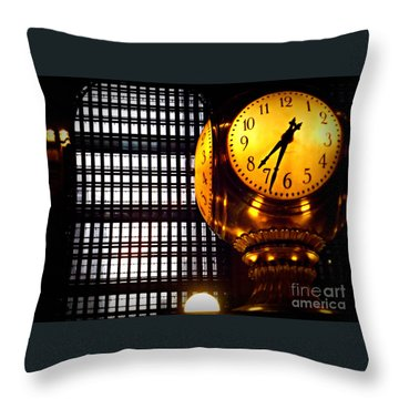 Under The Famous Clock Throw Pillow by Miriam Danar