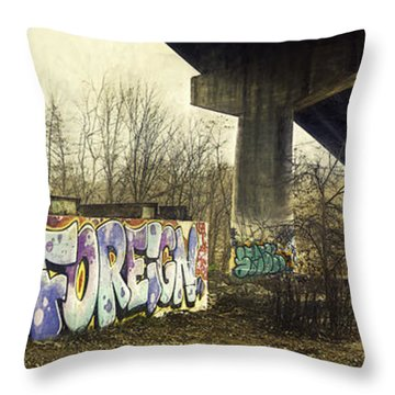 Under The Locust Street Bridge Throw Pillow