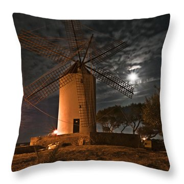 Vintage Windmill In Es Castell Villacarlos George Town In Minorca -  Under The Moonlight Throw Pillow