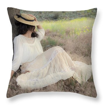 Under The Old Appletree Throw Pillow by Theresa Tahara