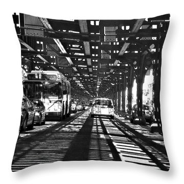 Under The One Train In The Bronx Throw Pillow