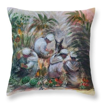 Under The Palm Trees At The Oasis Throw Pillow