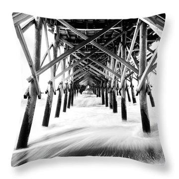 Under The Pier Folly Beach Throw Pillow