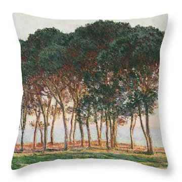 Under The Pines. Evening Throw Pillow by Claude Monet