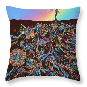 Under The Rainbow Throw Pillow by Erika Pochybova