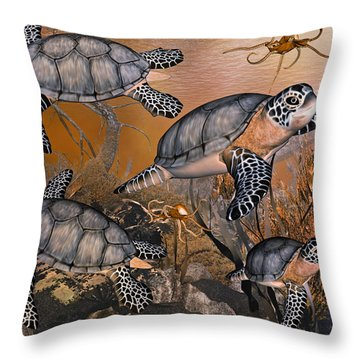 Under The Red Sea Throw Pillow by Betsy Knapp