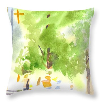 Under The Shade Trees Farmers Market Iv Throw Pillow by Kip DeVore