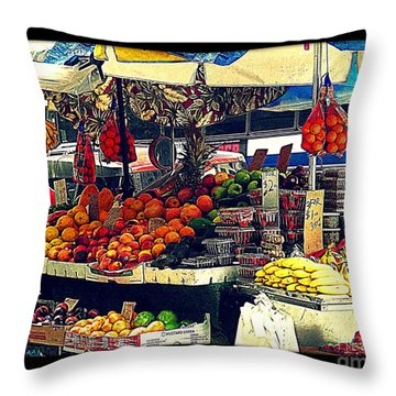 Throw Pillow featuring the photograph Under The Umbrellas by Miriam Danar