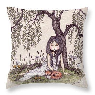 Under The Willow Tree Throw Pillow by Snezana Kragulj