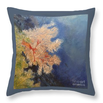 Throw Pillow featuring the painting Under Water Happiness  by Delona Seserman