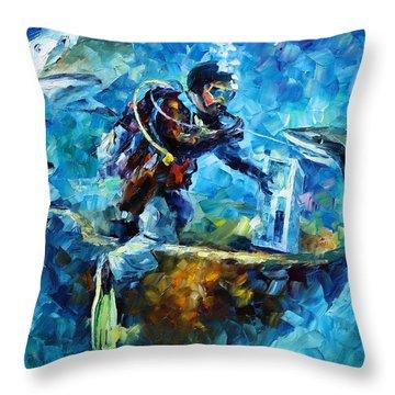 Under Water Throw Pillow by Leonid Afremov