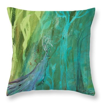 Throw Pillow featuring the painting Undercover Peacock by Robin Maria Pedrero