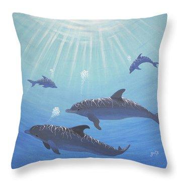 Underwater Dolphins Original Acrylic Painting Throw Pillow by Georgeta  Blanaru