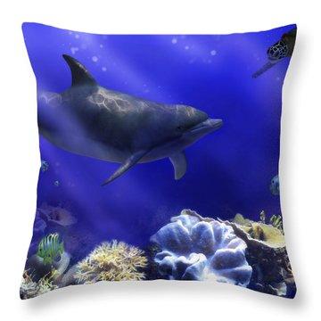 Underwater Encounter Throw Pillow