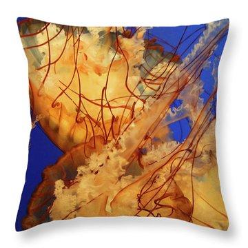 Underwater Friends - Jelly Fish By Diana Sainz Throw Pillow by Diana Sainz