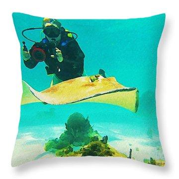 Underwater Photographer And Stingray Throw Pillow by John Malone Halifax Artist