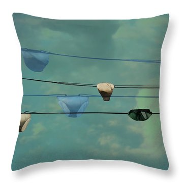 Underwear On A Washing Line  Throw Pillow