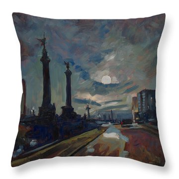 Throw Pillow featuring the painting Une Nuit A Liege Apres La Pluie by Nop Briex