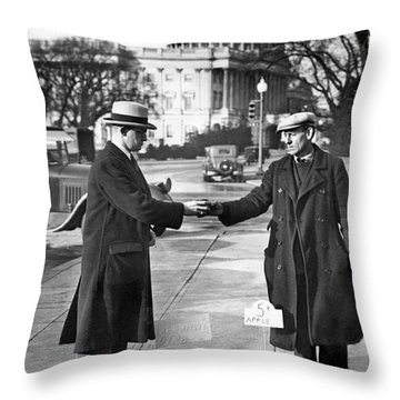 Unemployed Man Sells Apples Throw Pillow by Underwood Archives