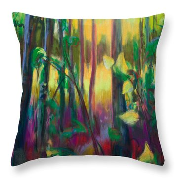 Unexpected Path - Through The Woods Throw Pillow by Talya Johnson