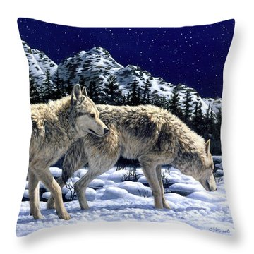 Wolves - Unfamiliar Territory Throw Pillow