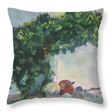 Throw Pillow featuring the painting Unfinished Apples by Diane Pape