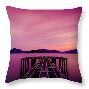 Unfinished Pier At Sunset Throw Pillow