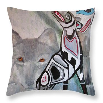 Unfinished Wolf Spirit Totem Throw Pillow