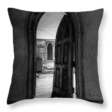 Unhinged - Old Gothic Door In An Abandoned Castle Throw Pillow by Gary Heller