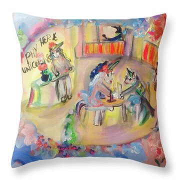 Unicorn Cafe Throw Pillow