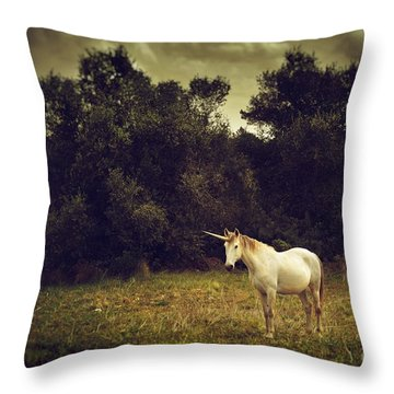 Unicorn Throw Pillow by Carlos Caetano