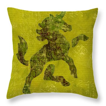 Unicorn Fresco Throw Pillow by Sarah Vernon