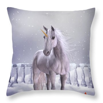 Throw Pillow featuring the digital art Unicorn In The Snow by Jayne Wilson