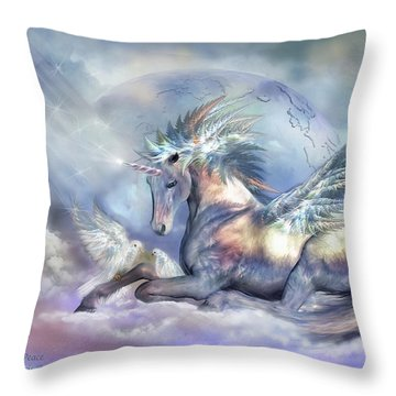 Unicorn Of Peace Throw Pillow by Carol Cavalaris